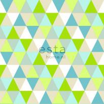 Tapetti Triangles 138713 0,53x10,05 m lime, turkoosi, beige