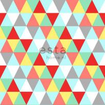 Tapetti Triangles 138715 0,53x10,05 m punainen, keltainen, vaaleansininen