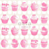 Tapetti Cupcakes with Shiny Dots 138723 0,53x10,05 m pinkki