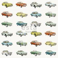 Tapetti Vintage Cars 138732 0,53x10,05 m oranssi, keltainen, vihreä