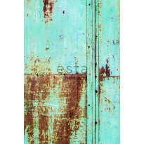 Paneelitapetti PhotowallXL Rusty Metal Wall 158207, 1860x2790mm, turkoosi