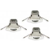 LED-alasvalosetti Euli, Domi, 3x4.5W, 3x345lm, 4000K, IP23, Ø 80x55mm, 3kpl, suunnattava, valkoinen