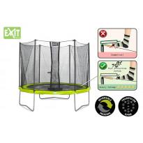 Trampoliini Exit Twist, 3,7m, turvakehällä, vihreä/harmaa