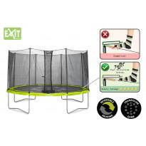 Trampoliini Exit Twist, 4,3m, turvakehällä, vihreä/harmaa