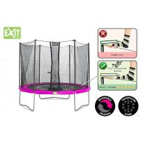 Trampoliini Exit Twist, 3,7m, turvakehällä, pinkki/harmaa
