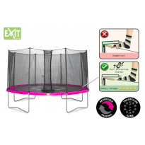 Trampoliini Exit Twist, 4,3m, turvakehällä, pinkki/harmaa