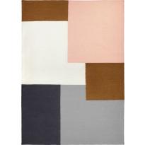 Villamatto Finarte Kortteli, 140x200cm, harmaa/vaaleanpunainen