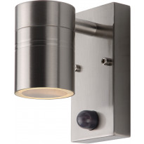 Ulkoseinävalaisin Lucide Arne-LED liiketunnistimella, Ø6,3 cm, 1x5W, IP44, satiinikromi