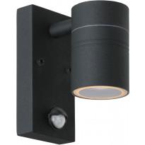 Ulkoseinävalaisin Lucide Arne-LED liiketunnistimella, Ø6,3 cm, 1x5W, IP44, musta