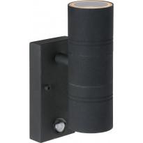 Ulkoseinävalaisin Lucide Arne-LED liiketunnistimella, Ø6,3 cm, 2x5W, IP44, musta