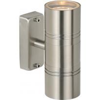 Ulkoseinävalaisin Lucide Arne-LED, Ø6.3 cm, 2x5W, IP44, satiinikromi
