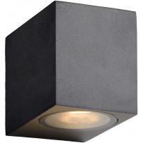 Ulkoseinävalaisin Lucide Zora LED kulmikas, GU10, 1x5W, IP44, musta