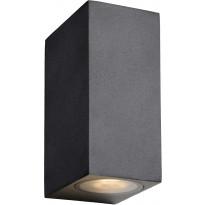 Ulkoseinävalaisin Lucide Zora LED kulmikas, GU10, 2x5W, IP44, musta