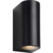 Ulkoseinävalaisin Lucide Zora LED pyöreä, GU10, 2x5W, IP44, musta