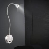 Seinävalaisin Globo Serpent LED, 3W, IP20, 520mm, metalli, harjattu teräs