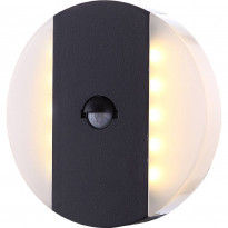 LED-ulkoseinävalaisin Globo Moonlight, Ø170mm, 11.6W, liiketunnistimella, harmaa