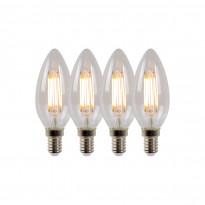 LED-lamppu Lucide filamentti E14, Ø3.5cm, himmennettävä, 4W, 2700K, kirkas, 4 kpl