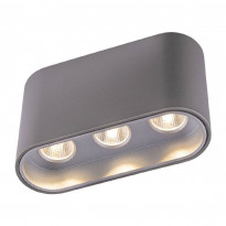 LED-kattospotti Globo Tugha, 10.5x3.8cm, 7W, harmaa
