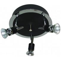 Spottivalaisin FocusLight Modus, 3x50W, 230V, IP20, Ø 240mm, musta/kromi