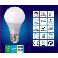 LED-lamppu A60 FocusLight, 7W, 230V, 3000K, 470lm, IP20, Ø 60mm, valkoinen