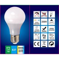 LED-lamppu A60 FocusLight, 7W, 230V, 3000K, 470lm, IP20, Ø 60mm, valkoinen
