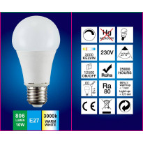 LED-lamppu A60 FocusLight, 10W, 230V, 3000K, 806lm, IP20, Ø 60mm, valkoinen