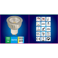 LED-lamppu GU10 FocusLight, 5W, 230V, 3000K, 350lm, IP20, Ø 50mm, harmaa