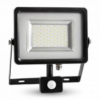 Valonheitin LED Slim V-TAC VT-4830 PIR, 30W, 230V, 4500K, 2400lm, IP44, musta