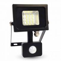 Valonheitin LED Slim V-TAC VT-4810 PIR, 10W, 230V, 4500K, 800lm, IP44, musta