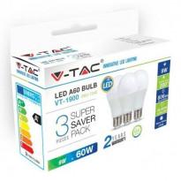 LED-lamppu V-TAC A60 Vt-1900, E27, 10W, 2700K, Ø 60mm, valkoinen, 3 kpl/pkt