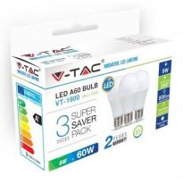 LED-lamppu V-TAC A60 Vt-1900, E27, 10W, 4000K, Ø 60mm, valkoinen, 3 kpl/pkt