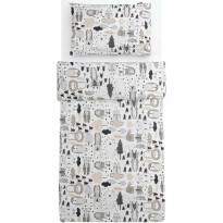 Lasten pussilakanasetti Familon Kaverit, 120x160cm, valkoinen/kaakao