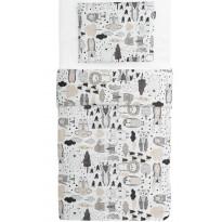 Vauvan pussilakanasetti Familon Kaverit, 85x125cm, valkoinen/kaakao