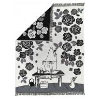 Torkkupeite Finlayson Muumimamman ruusutarha, 130x170cm, musta/valkoinen