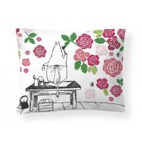 Satiinityynyliina Finlayson Muumimamman ruusutarha, 50x60cm, pinkki, luomupuuvilla