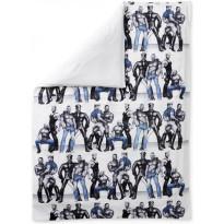 Parivuoteen satiinipussilakana Finlayson Blue Squad, 240x210cm, valkoinen/musta/sininen