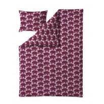Pussilakanasetti Finlayson Elefantti, 150x210+50x60cm, viininpunainen/roosa