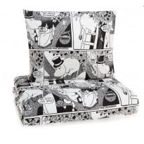 Sarjakuva-Muumipappa pussilakanasetti, mustavalkoinen, 150x210cm