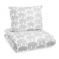 Elefantti lasten pussilakanasetti, harmaa/valkoinen, 120x160cm