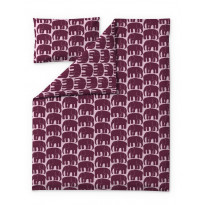 Lasten pussilakanasetti Finlayson Elefantti, 120x160+40x60cm, viininpunainen/roosa