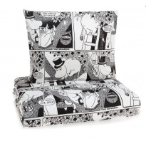 Sarjakuva-Muumipappa parivuoteen pussilakanasetti, mustavalkoinen, 240x210cm
