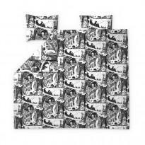Parivuoteen pussilakanasetti Finlayson Seikkailumuumi, 240x210cm, musta/valkoinen