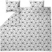 Parivuoteen satiinipussilakanasetti Finlayson Esther, 240x210cm, valkoinen/musta