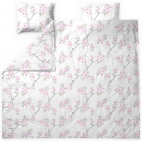 Parivuoteen pussilakanasetti Finlayson Kioto, 240x210cm, valkoinen/pinkki