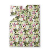 Pussilakanasetti Satumuumi, vihreä/pinkki, 150x210+50x60cm