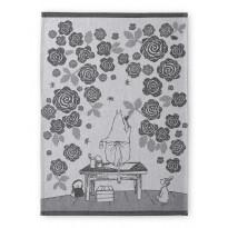 Keittiöpyyhe Finlayson Muumimamman ruusutarha, 50x70cm, musta/valkoinen