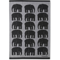 Keittiöpyyhe Finlayson Elefantti, 50x70cm, musta/valkoinen