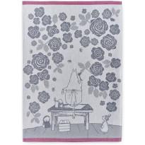 Keittiöpyyhesetti Finlayson Muumimamman ruusutarha, 50x70cm, sininen/roosa