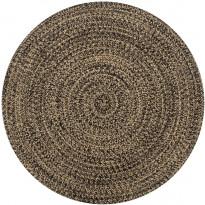 Juuttimatto, Ø90cm, käsinkudottu, musta/luonnollinen kuvio