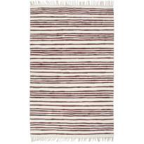 Chindi-matto, 80x160cm, käsinkudottu, puuvilla, valkoinen/burgundi